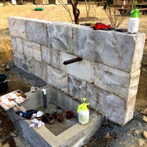 モルタル造形 壁泉